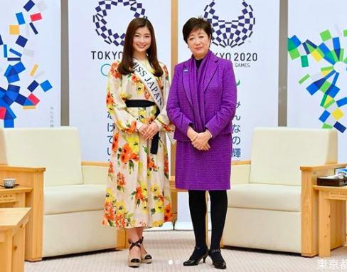 土屋炎伽と小池東京知事の全身写真
